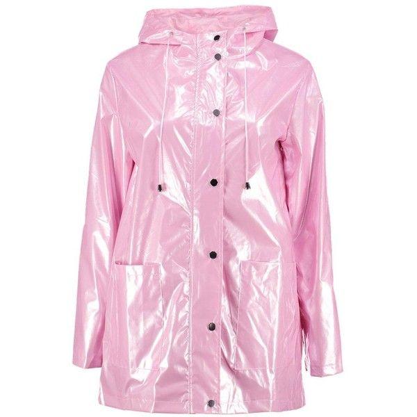 Boohoo Lily Metallic Rain Coat ($62) ❤ liked on Polyvore featuring outerwear, coats, pink coat, rain coat, metallic coat, metallic raincoat and boohoo coats