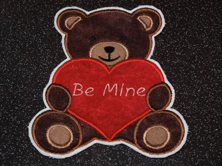 "Teddy Bear Valentine ""BE MINE"" heart patch applique sew on iron on glue on stick on accessory motif by woosbagsandcrafts on Etsy"