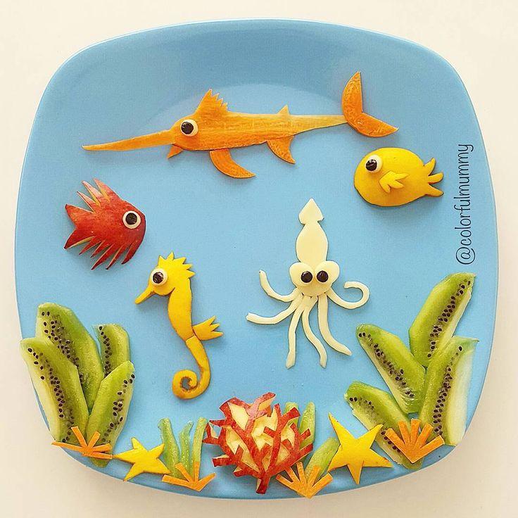 What is happening under the sea? by Ebru, foodart & children (@colorfulmummy)