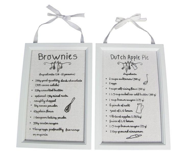 Set van 2 recepten voor aan de muur RECIPES, 24x16 cm | Dalani Home & Living