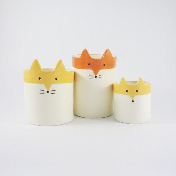 Fox Planter Ceramic White and Orange Succulent door MinkyMooCeramics