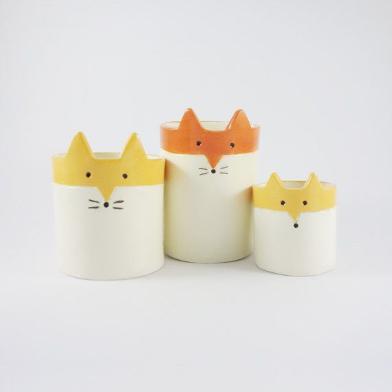 Fox Planter Ceramic White and Orange Succulent door MinkyMooCeramics