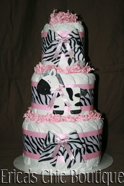 Black, White & Pink Zebra Diaper Cake Baby Girl Shower Gift | eBay need this for my baby shower :)