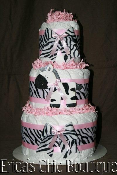 Black, White & Pink Zebra Diaper Cake Baby Girl Shower Gift   eBay