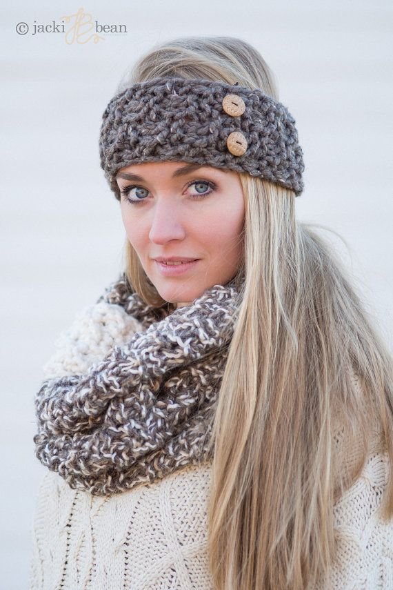 The Button Band-Knitted Headband-Knit Headband-Cozy by JackiBean