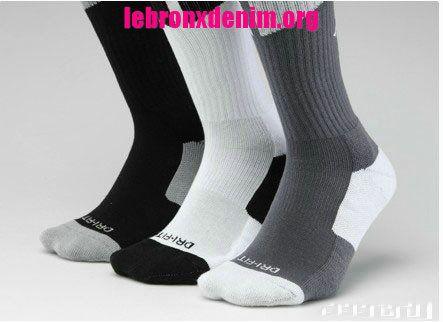Jordan AJ Dri-Fit Crew Sock Mens 3 Piece Pack [Lebron X Denim 257]