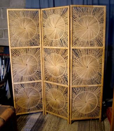 Vintage Folding 3 Panel Room Divider Reed Straw Screen