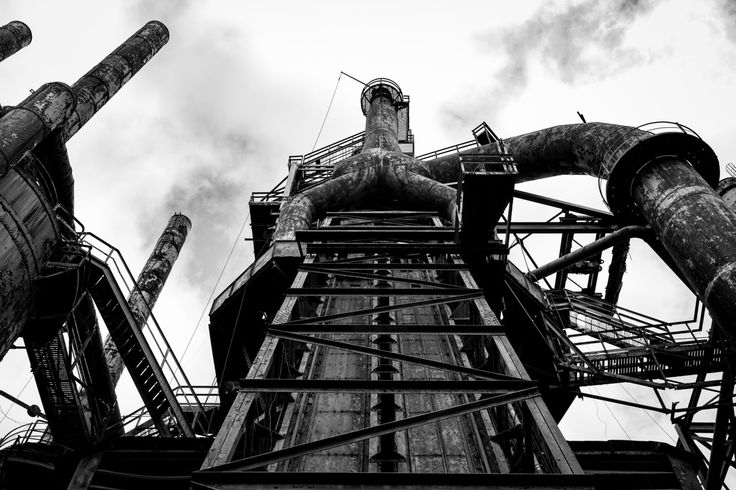 Steel Stacks Steel Mill Machine Black and White Wall Art Photography Print by 1019Photo on Etsy