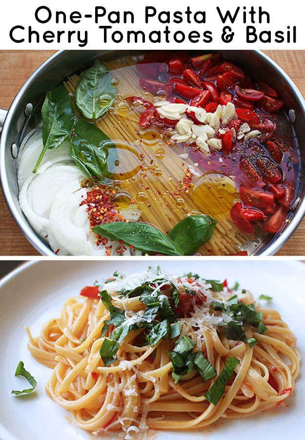 One pan pasta with cherry tomatoes & basil