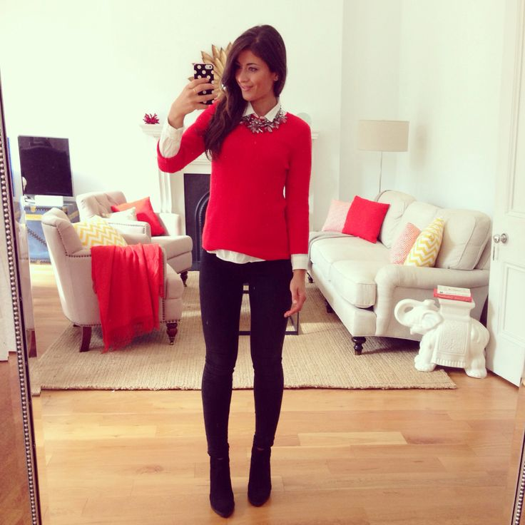 Mimi Ikonn | Red sweater , fall fashion , fall outfit