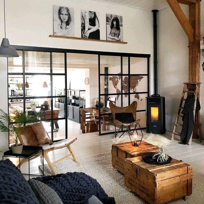 Salon Industriel Tendance 30 Idees Inspirations Idee Deco Industrielle Deco Appartement Et Deco Maison