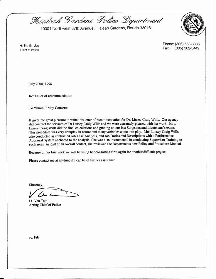Law Enforcement Letter Of Inspirational