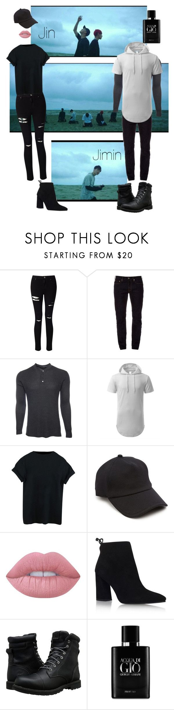"""BTS - Save Me  Jin and Jimin"" by alvorgruvis ❤ liked on Polyvore featuring Miss Selfridge, STONE ISLAND, Marc Jacobs, rag & bone, Lime Crime, Stuart Weitzman, Timberland and Giorgio Armani"