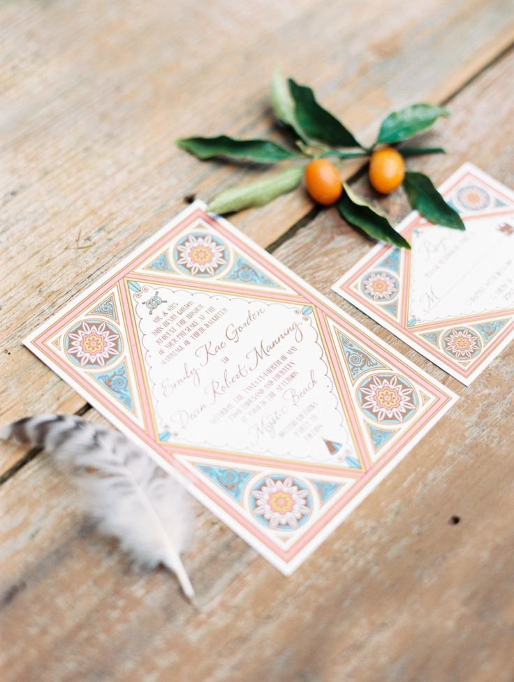 Moroccan surf inspired boho wedding invitations from