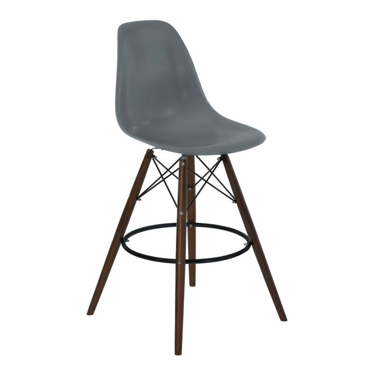 Armen Living Nicos Mid-Century Barstool in Walnut Wood and Durable Molded Plastic Gray Seat, Home Design, Home Descor, Barstool, Home Bar,