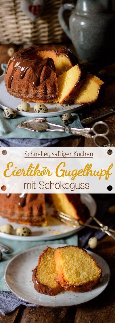 Einfacher Eierlikör Gugelhupf mit Schokoguss