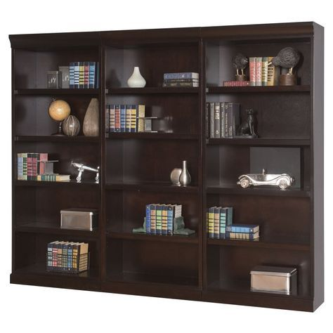 kathy ireland Home by Martin Fulton Wood Wall Bookcase - Espresso - MAI887