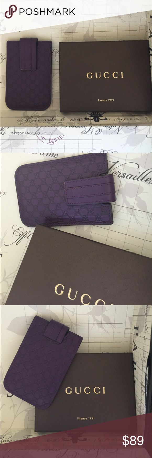 GUCCI iPhone 5 5/S Case GUCCI iPhone touch 4 4/S cases. Can be used as a business card holder, or other possibilities, it is very nice, just one area that has a minor rubbed spot.  PreOwned in Wonderful Condition  Leather Made in Italy 100% authentic purchased at the Gucci store in NY  5 inch by 3.25 inch or 12.7 cm by 8.2 cm  Purple with DOUBLE GG LOGO   Please see photos for additional details. Thanks and Happy Shopping GUCCI Accessories Phone Cases