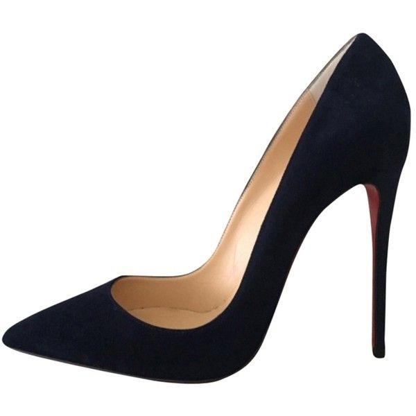 Pre-owned Christian Louboutin So Kate 120mm Suede Us7 Eu37 Navy Pumps ($799) ❤ liked on Polyvore featuring shoes, pumps, navy, christian louboutin, navy shoes, navy pumps, navy blue suede shoes and pre owned shoes