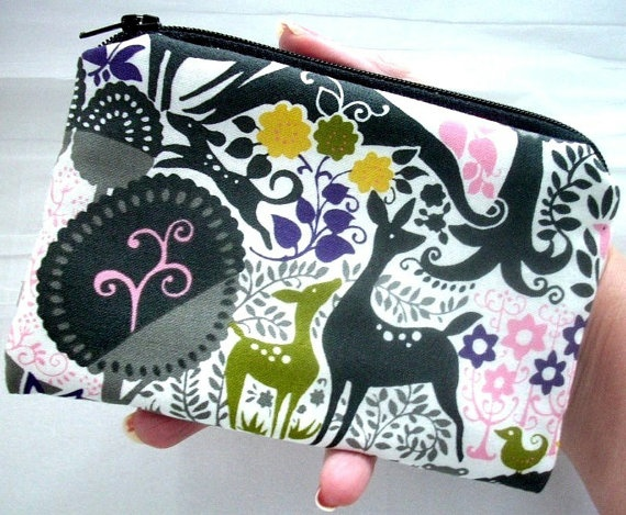 Padded Zipper Pouch NEW Eco Friendly Forest Friends by JPATPURSES, $8.00