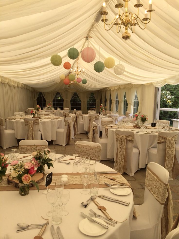 Beautiful Marquee With Pastel Lanterns Hanging From
