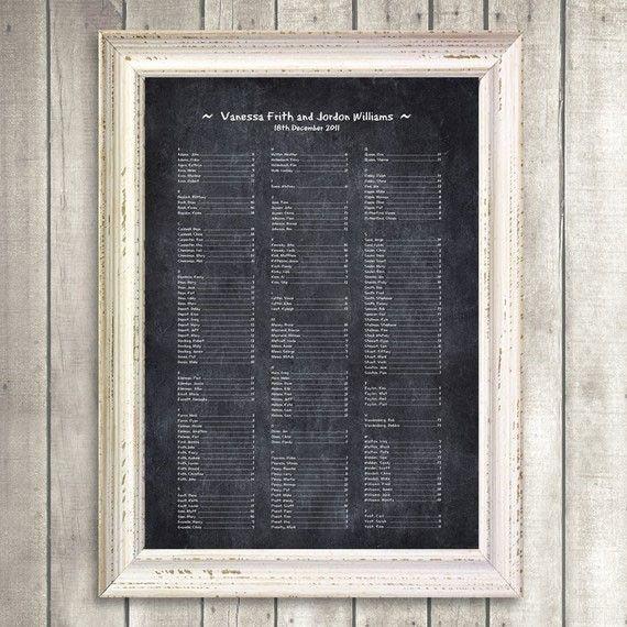 chalkboard seating chart - printable file - rustic wedding. $50.00, via Etsy.