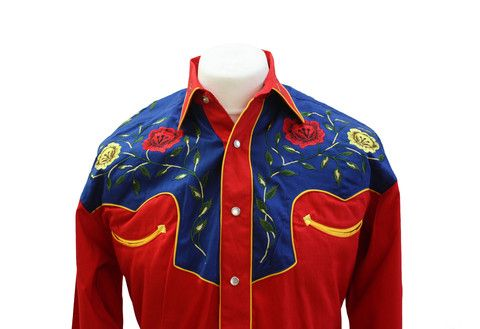 Rockmount 2-Tone Floral Red & Blue Western Cowboy Shirt Front Close Up http://broncobills.co.uk/collections/brand-new/products/rockmount-2-tone-floral-red-blue-western-cowboy-shirt