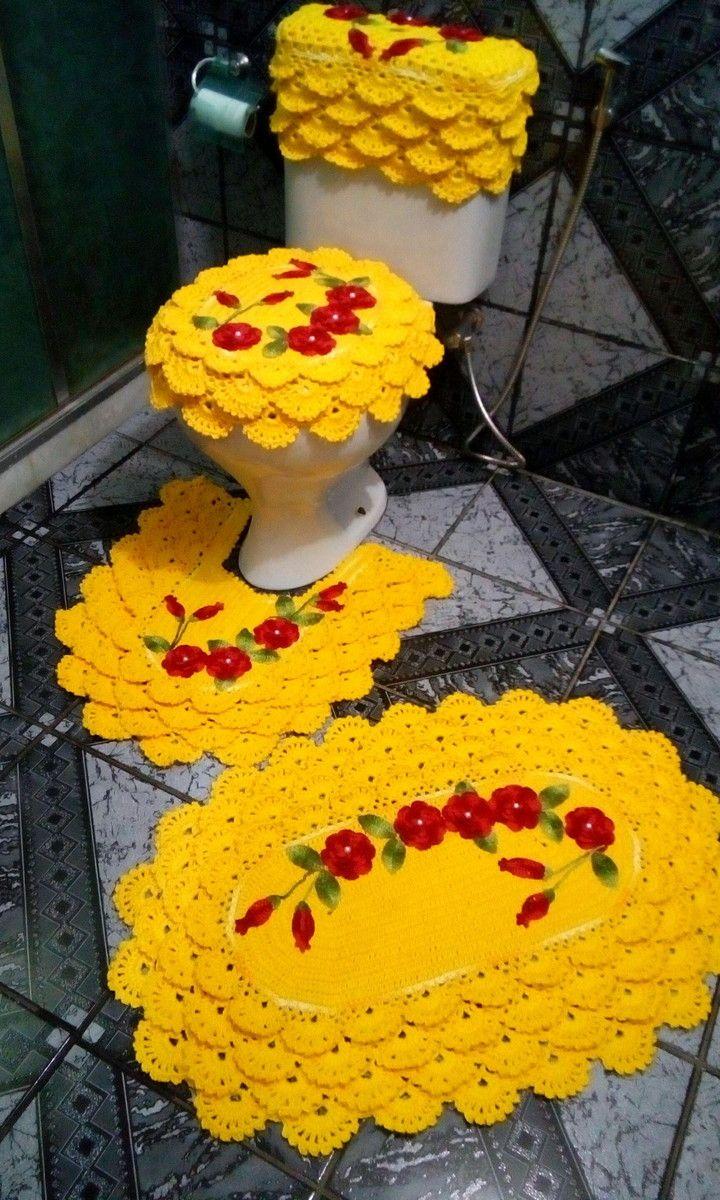 Jogo de banheiro rendado todo feito em barbante maxcolor