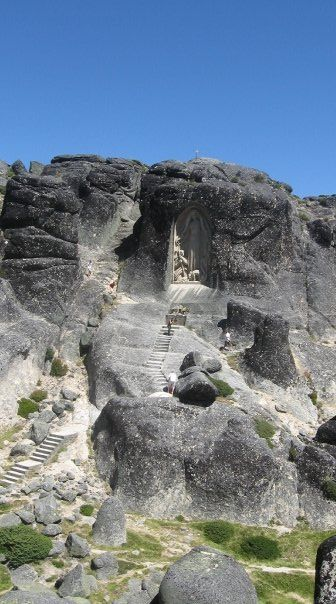 Nossa Senhora da Boa Estrela, Serra da Estrela Portugal. Hidden in the mountains and deep cliffs in the midst of rock, a glimpse of faith Our Lady of the Good Star. Beautiful carvings in the rocks.