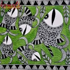 fishs madhubani paintings in black and white
