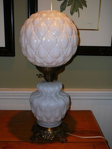 Gorgeous Vintage Milk Glass Electric Hurricane Lamp Gone