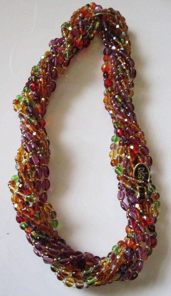 Joan Rivers Torsade Necklace & Earrings SET  Multi Color