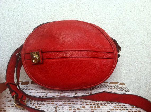 Vintage Celine Bag, Made in Paris, Lipstick Red Round Messenger, Distressed Leather Shoulder Purse, Designer Crossbody, French Pochette Bag
