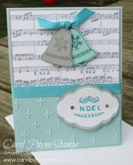 Stampin' Up!, Seasonal Bells, Sheet Music Background, Labeler Alphabet, Pretty Label Punch, DIY crafts, paper crafts, handmade Christmas cards, #carolpaynestamps