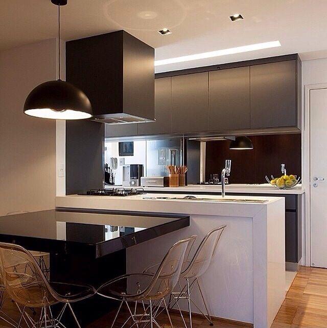 Cozinha integrada/ cozinha preto e branco