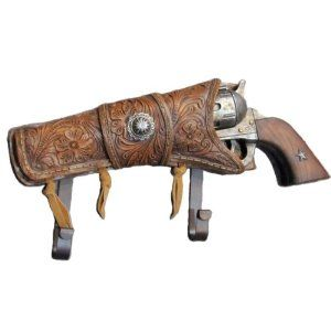 Shix Shooter Revolver w/ Holster Coat Hook by Dell. $24.99. Hang em High!  This old west cowboy style 6 shooter w/ holster wall hook or coat rack looks and feels just like an old western revolver. This beautiful piece of western decor features a wall plate cast in the shape of an antique pistol with a western style holster with star and two hooks, great for hanging your towel, hat, coat, keys, or lasso. When your accessories are added to the hook, it looks like you checked y...
