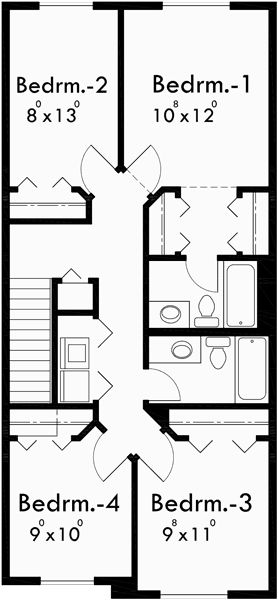 Upper Floor Plan for 10118 Narrow lot house plans