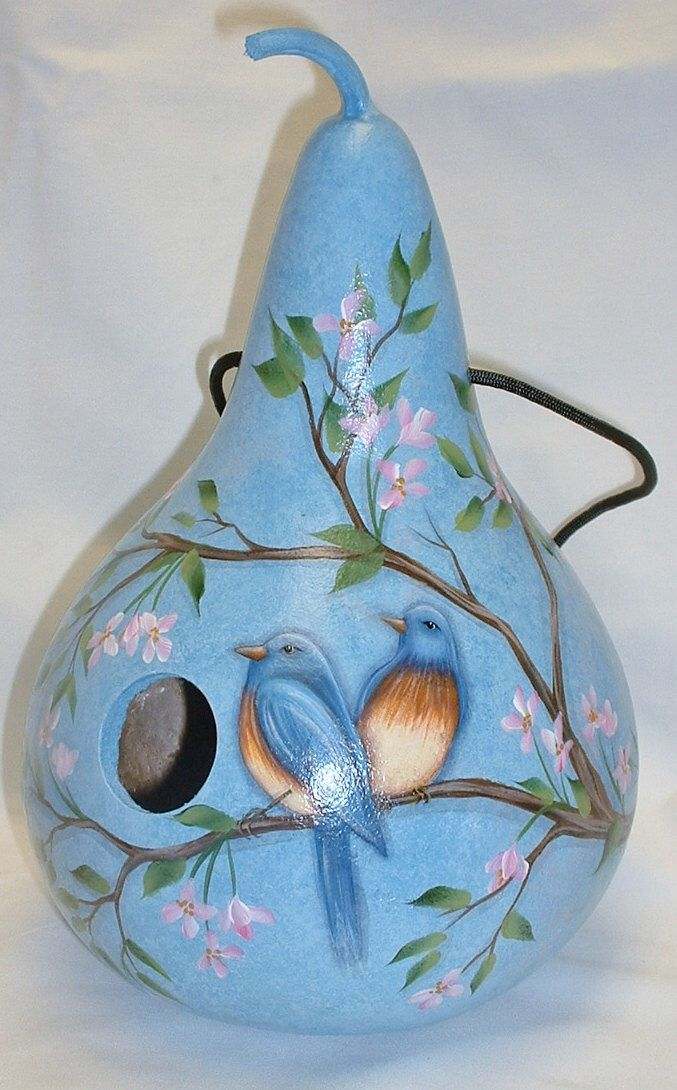 Blue Bird and Cherry Blossoms Gourd Birdhouse - Hand Painted Gourd by FromGramsHouse on Etsy https://www.etsy.com/listing/216868124/blue-bird-and-cherry-blossoms-gourd