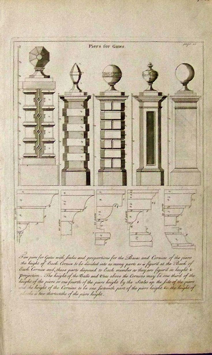 1765 Copper engraving showing five Piers for Gates.