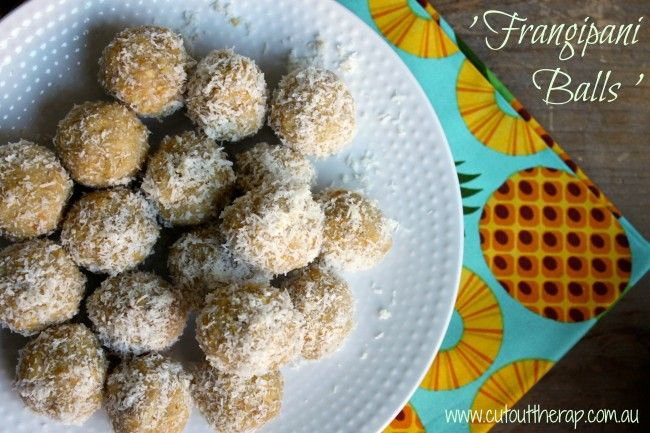 Frangipani Balls - with nuts.  I made these as a slice and topped with White Choc and Coconut oil.