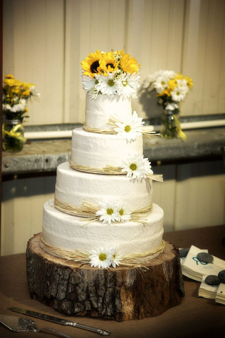 Perfect country wedding cake just change flowers to match wedding colors  crafts  Country