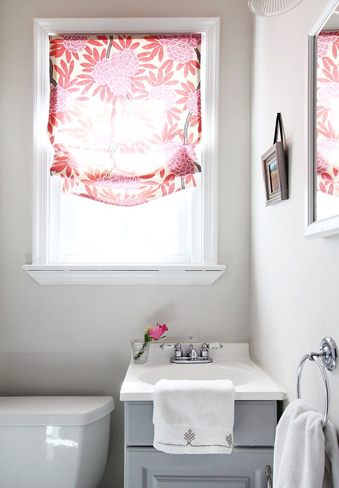 Chic Powder Room With Window Covered In Caitlin Wilson Textiles Berry Fleur  Chinoise Fabric Roman Shade Over Gray Bathroom Vanity Accented With White  ...
