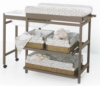 Table à langer Comfort avec étagères extractibles avec baignoire Chocolat