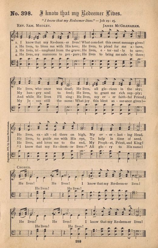 Antique Hymn Book Page Printable - I Know That my Redeemer Lives - via KnickofTime.net