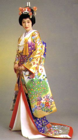 """Kimono and their History...making is a major art in Japan. The kimono is a valuable piece of clothing. They became heirlooms between 1868 and 1912. Japan was influenced by other cultures. Japan has recently adopted a more western style of clothing. People wear modern clothes now like jeans and t-shirts. Today kimono are only worn on special occasions such as the """"Coming of Age Day""""."""