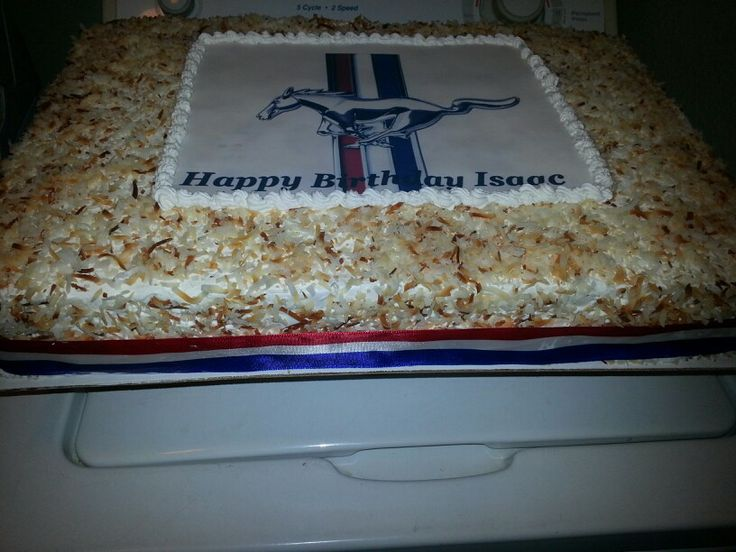 Coconut Tres Leches Cake with Mustang edible image