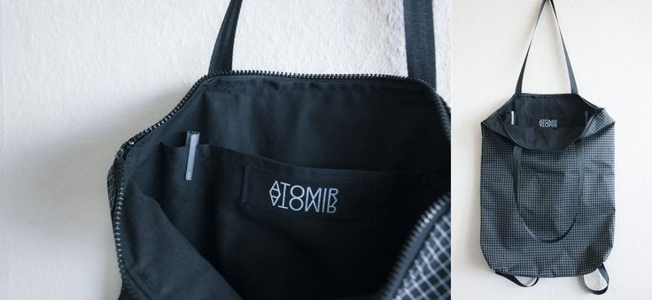 handmade backpack / tote in black and white. made out of light water-repellent dyneema gridstop.