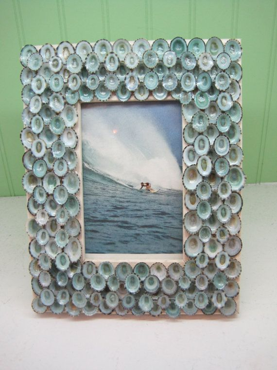 Beach Decor Blue Limpet Shell Frame Seashell by LiveCoastal