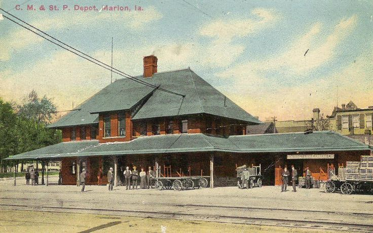 Old Marion Iowa Depot.  The roof was saved and restored and resides as a pavilion in the Marion Iowa downtown park.  They have great concerts in the park during the summer.