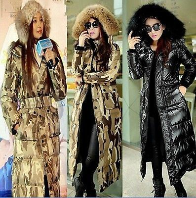 Super Long Coat Winter Womens Fur Hooded Slim Fit Thicken Duck Down Jackets $54